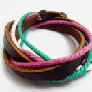 Adjustable black leather and Multicolour cotton ropes bracelet 31S
