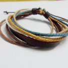 Adjustable black leather and Multicolour cotton ropes bracelet 32S