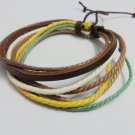 Adjustable black leather and Multicolour cotton ropes bracelet 33S