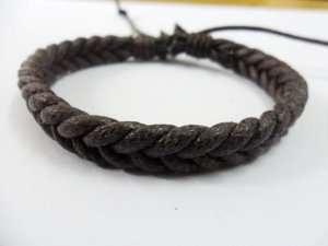 Adjustable leather and Multicolour cotton ropes bracelet 39S