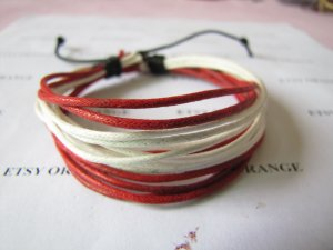 Adjustable leather and Multicolour cotton ropes bracelet 47S