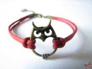 adjustable Red Hemp Ropes Bracelet antique bronze retro style Owl Bracelet Cuff Bracelet 447S