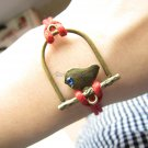 adjustable Red Hemp Ropes Bracelet antique bronze retro style Bird Bracelet Cuff Bracelet 448S