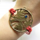 Adjustable Vintage Bird Bracelet with Red hemp ropes and Crystal Cuff Bracelet Chain Bracelet  465S
