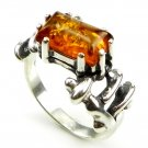 COGNAC BALTIC AMBER RING - STERLING SILVER - SIZE M 1/2