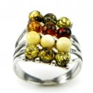MULTICOLOUR BALTIC AMBER RING - STERLING SILVER - SIZE P 1/2