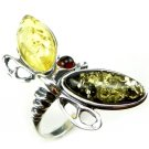 MULTICOLOUR BALTIC AMBER DRAGONFLY RING - STERLING SILVER - SIZE O 1/2