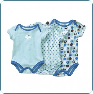 Tiny Tillia Blue Growing Bodysuit 3-Size Pack (3-9 months)