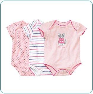 Tiny Tillia 3-Pack Pink Single-Size Bodysuit (0-3 months)