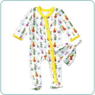 Tiny Tillia Yellow Footed Coverall + Hat (3-6 months)