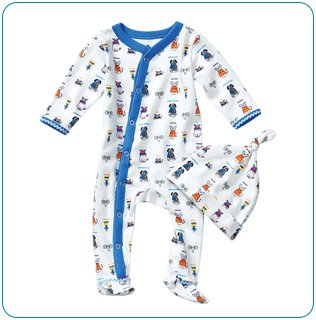 Tiny Tillia Blue Footed Coverall + Hat (6-9 months)