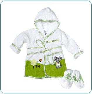 Tiny Tillia Green Bathrobe + Booties - Personalizable (0-9 Months)