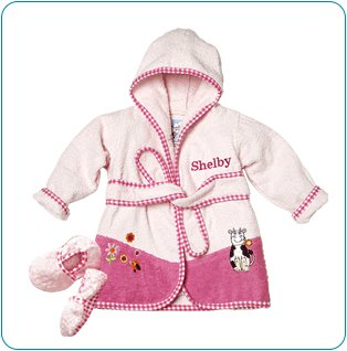 Tiny Tillia Pink Bathrobe + Booties - Personalizable (0-9 Months)