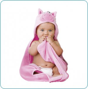 Tiny Tillia Dilly Pig Hooded Bath Towel