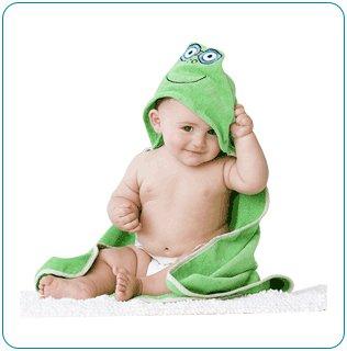 Tiny Tillia Trace Frog Hooded Bath Towel