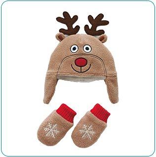 Tiny Tillia Reindeer Hat and Mitten Set (0-12 months)