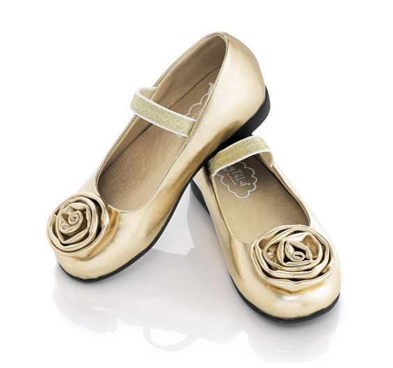 Size 9 Tiny Tillia Toddler Gold Ballet Shoes Avon