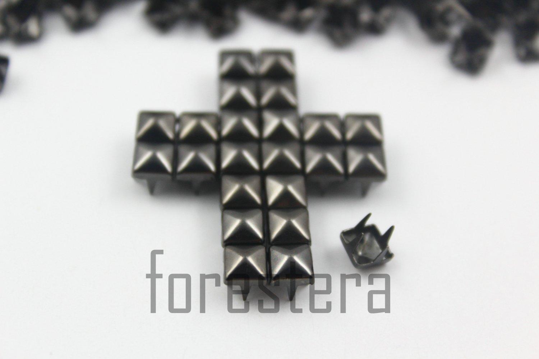 100 5mm Gunmetal Pyramid Studs DIY Studs Metal Studs Craft Studs Spike (GP05)