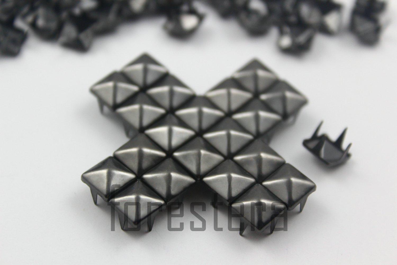 100 7mm Gunmetal Pyramid Studs DIY Studs Metal Studs Craft Studs Spike (GP07)