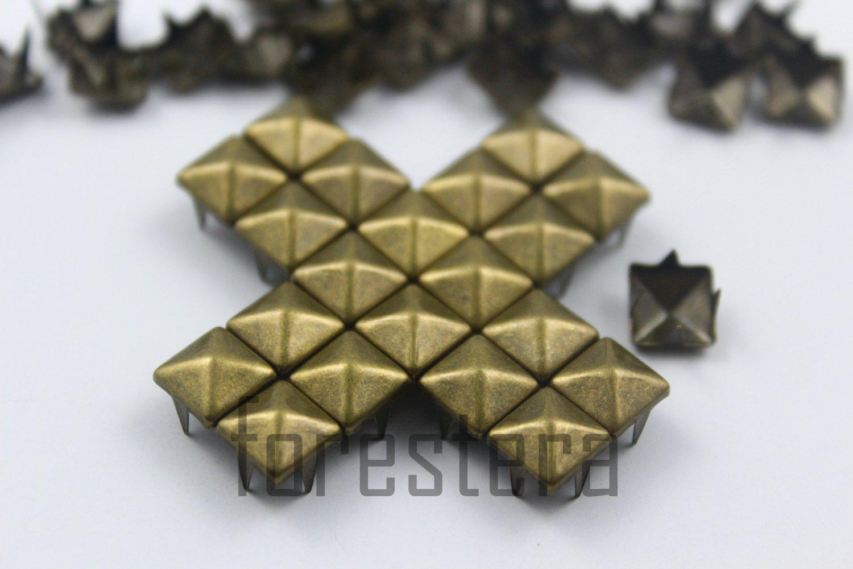 100 7mm Antique Brass Pyramid Studs DIY Studs Metal Studs Craft Studs Spike (BP07)