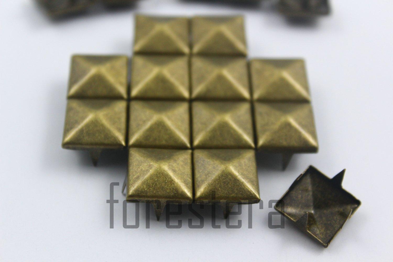 100 12mm Antique Brass Pyramid Studs DIY Studs Metal Studs Craft Studs Spike (BP12)