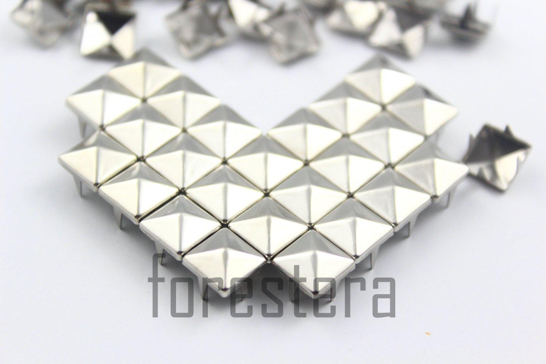 100 8mm Silver Pyramid Studs DIY Studs Metal Studs Craft Studs Spike (SP08)