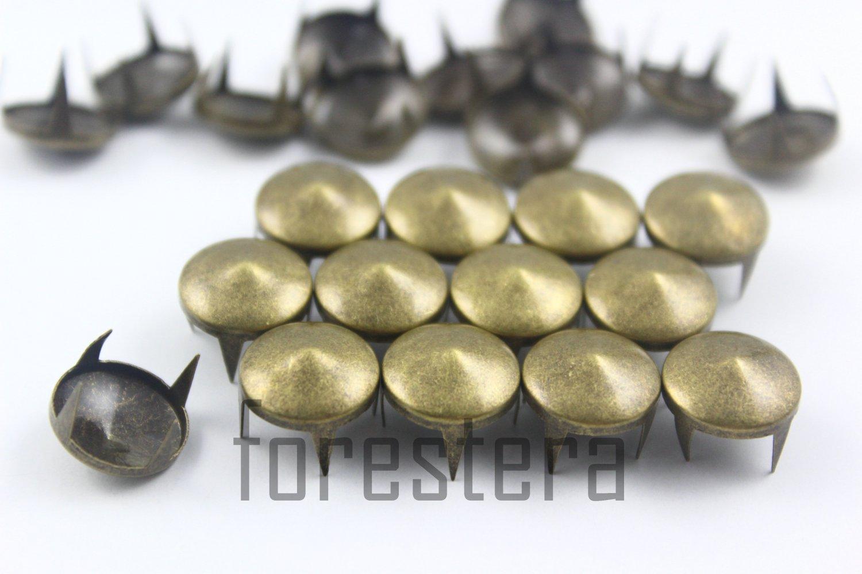 100 12mm Antique Brass Cone Conical Studs DIY Studs Metal Studs Craft Studs Spike (BC12)