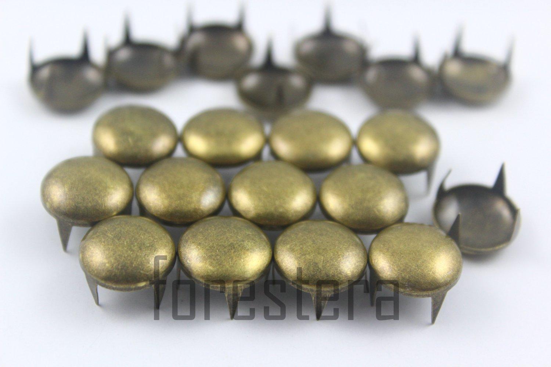 100 12mm Antique Brass Round Studs DIY Studs Metal Studs Craft Studs Spike (BR12)