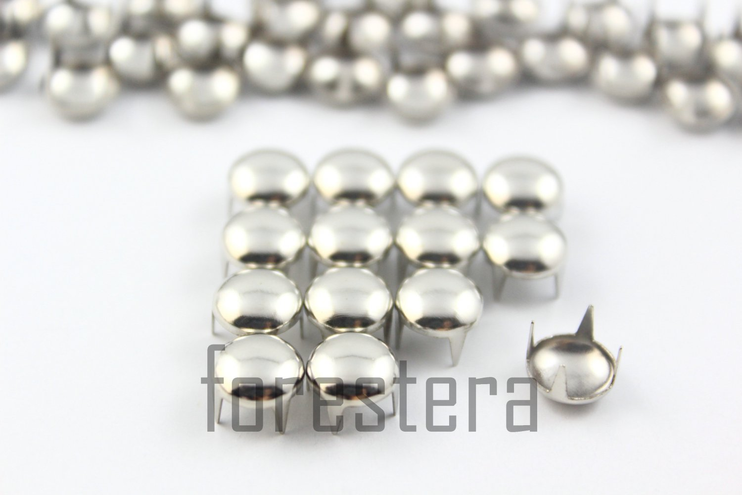 100 8mm Silver Round Studs DIY Studs Metal Studs Craft Studs Spike (SR08)
