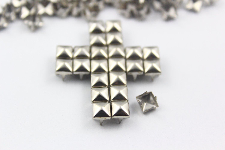 100 5mm Silver Pyramid Studs DIY Studs Metal Studs Craft Studs Spike (SP05)