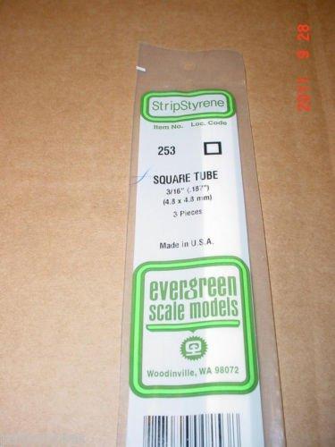 "Evergreen Styrene Plastic 3/16"" Square Tube Tubing .187"" Scratchbuilding 14"""