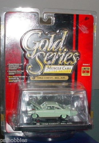 Johnny Lightning JL Gold Series 1962 Chevy Bel Air 409 Diecast Muscle Cars 1/64