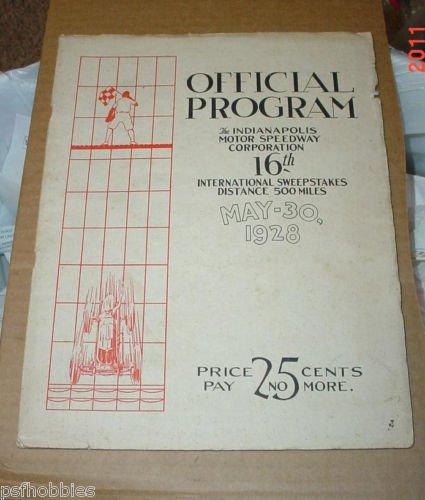 RARE & Original 1928 Indy Indianapolis 500 Race Program 16th Sweepstakes Car