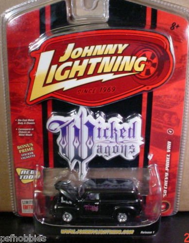 Johnny Lightning JL Wicked Wagons 1950 Chevy Panel Van Diecast Toy Car 1/64