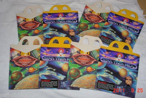 Four 1979 Happy Meal Star Trek Klingon & Captain Kirk Unused Box Movie Premium
