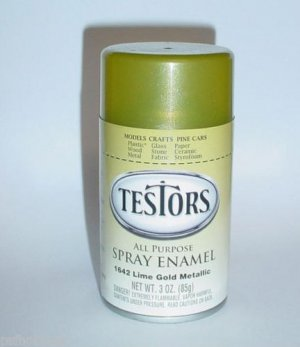 Testors Lime Gold Metallic 3oz Spray Can Hot Rod Model Car Paint Enamel