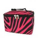 Cute! Cosmetic Makeup Bag Case Zebra Print Hot Pink Black Small