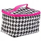 Cute! Cosmetic Makeup Bag Case Houndstooth Print Hot Pink Trim Small