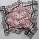 Gift 20&quot; Square Neck head Scarf Wrap Checkered Stripes - 1 uneven border