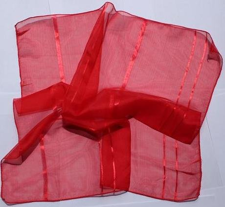 """Sold Out: 21"""" Chiffon Neck Head Scarf Wrap Kerchief Red Exotic!"""