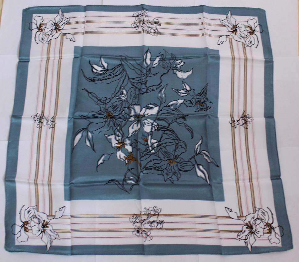 """Gift 20"""" Neck Head Scarf Wrap Stripes Elegant Flowers White"""