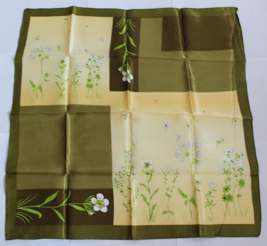 "Gift 20"" Neck Head Scarf Wrap Kerchief Bandana White Flowers Green leaves"