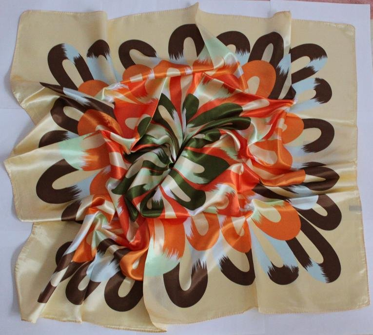 "Gift 35"" Silk like Scarf Wrap Bandana Kerchief Circles"