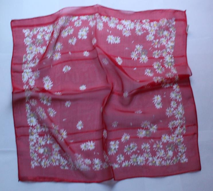 "Gift 20"" Neck Head Scarf Wrap Kerchief Bandana Red White Green Flowers"