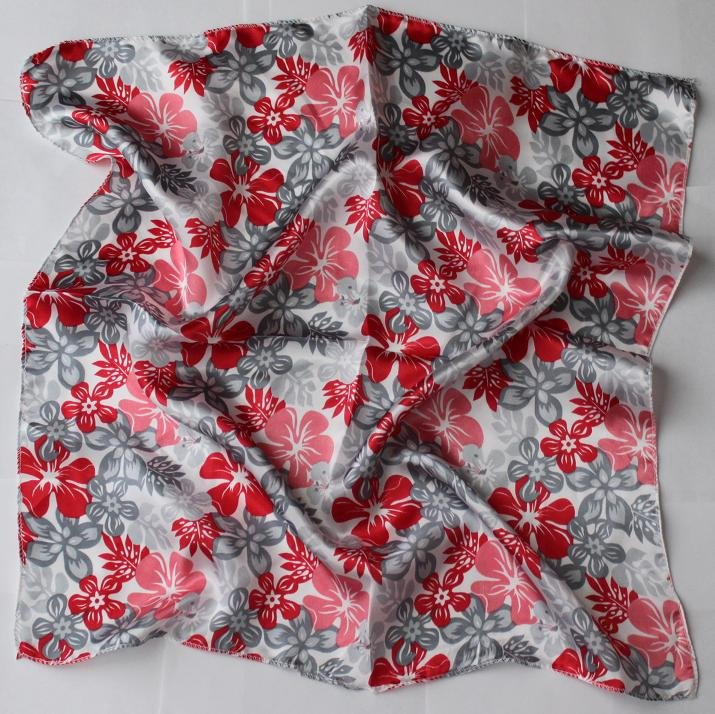 """Gift 20"""" Silk Imitation Scarf Wrap Gray Red flowers - must read details"""