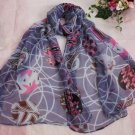 Gift Silk Like Chiffon Oblong Scarf Blue Brown Floral