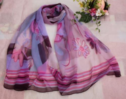 Gift Silk Chiffon Oblong Scarf Pink Blue Brown