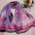 Gift Silk Chiffon Oblong Scarf Pink Blue Brown