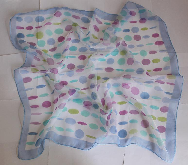 "Gift 24"" Chiffon Silk Neck Head Scarf Wrap Blue Circles Fast Shipping"