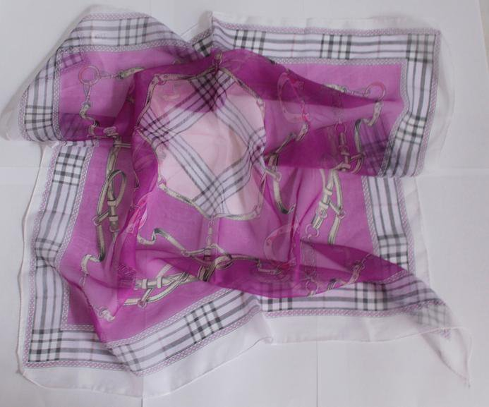 "24"" Chiffon Silk Neck Head Scarf Wrap Chains Fuschia"